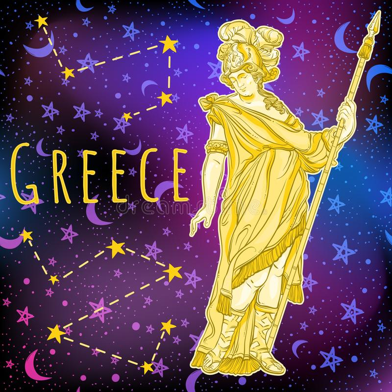 Mooie Griekse god op ruimteachtergrond De mythologische heldin van oud Griekenland Kosmische ruimte vectorillustratie royalty-vrije illustratie