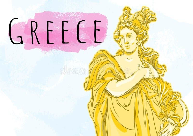Mooie Griekse godin De mythologische heldin van oud Griekenland Hand-drawn mooi vector geïsoleerd kunstwerk Mythen en legen vector illustratie