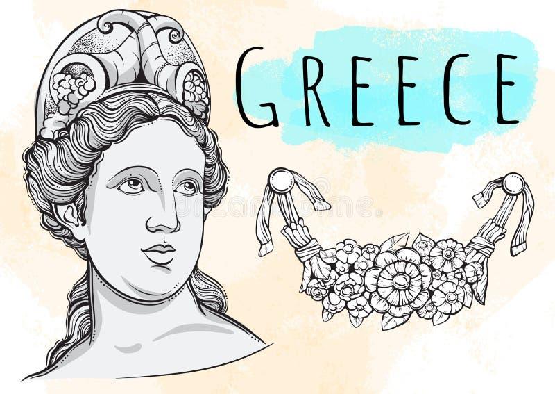 Mooie Griekse godin De mythologische heldin van oud Griekenland Hand-drawn mooi vectorkunstwerk Mythen en legen royalty-vrije illustratie