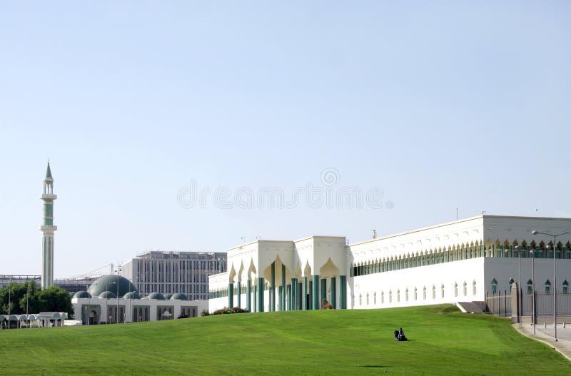 Mooie groene Moskee al-Sheoukh & weelderige groene wet stock foto
