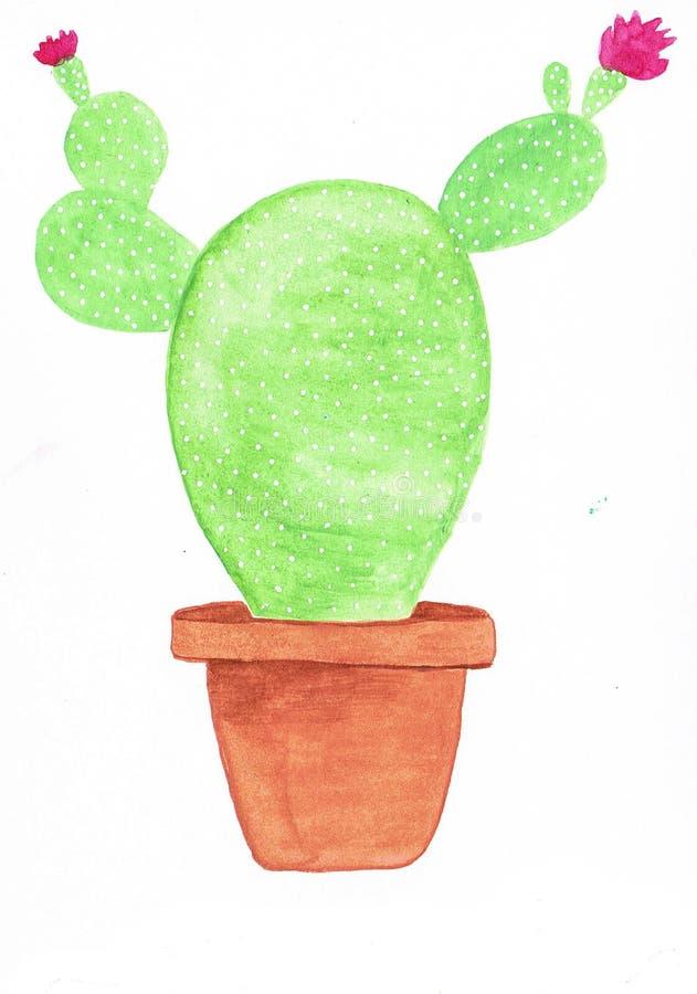 Mooie groene opunthia met kleine roze bloemen in een ceramische pot vector illustratie