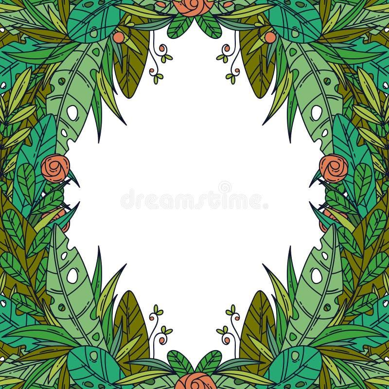 Mooie groetkaart met bloemenbeeldverhaalkader royalty-vrije stock afbeelding