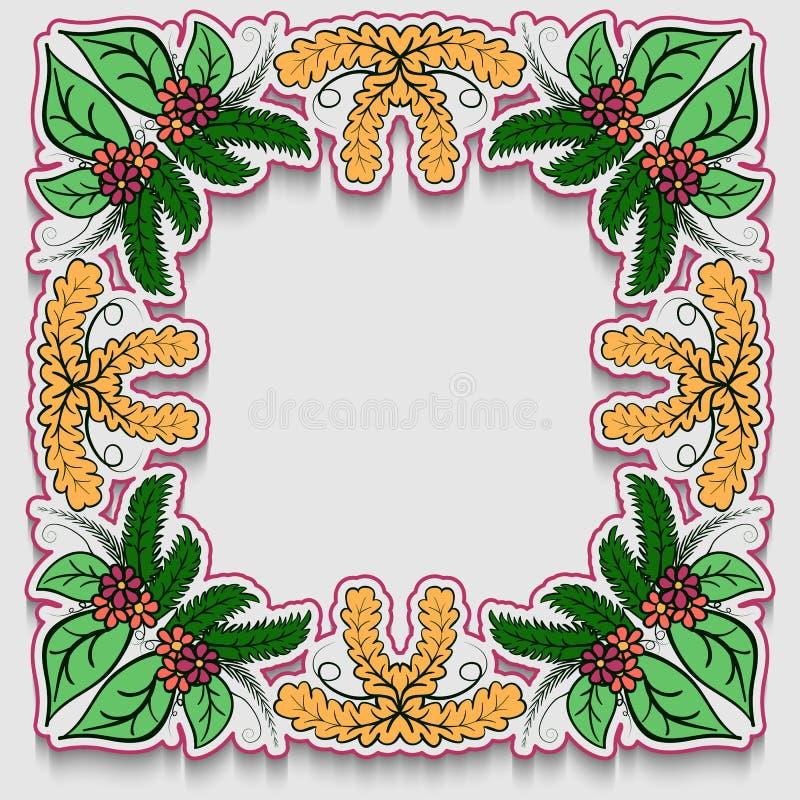 Mooie groetkaart met kleurrijk bloemenkader Het kan als uitnodiging of groetkaartdekking worden gebruikt vector illustratie