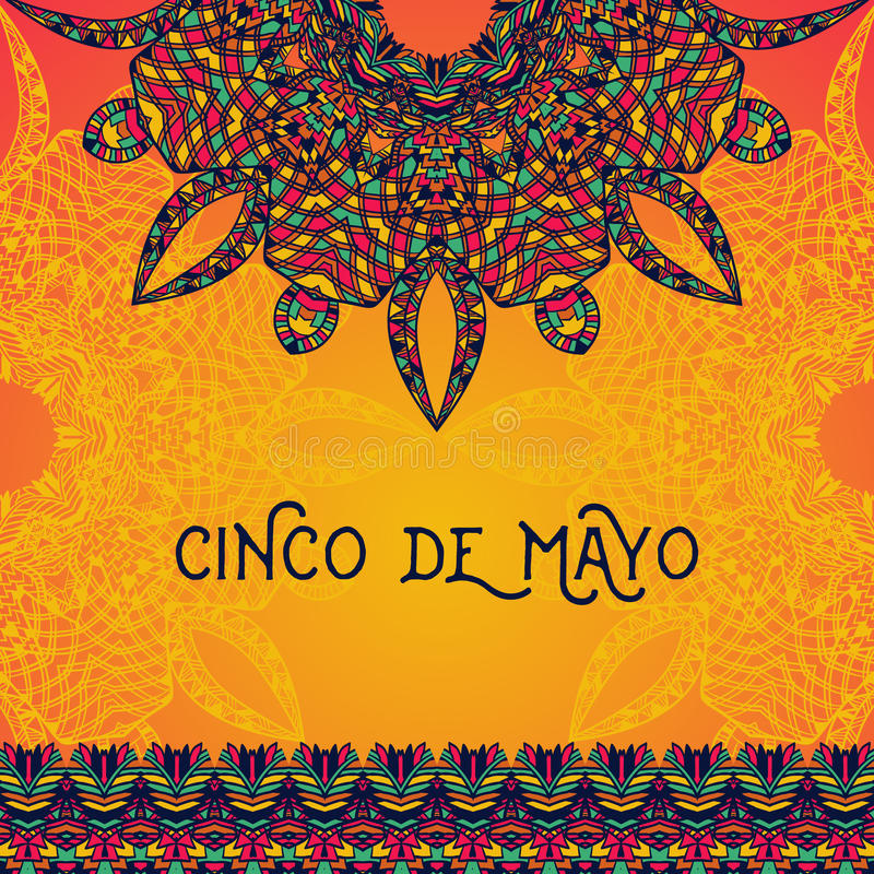 Mooie groetkaart, uitnodiging voor Cinco de Mayo-festival stock illustratie