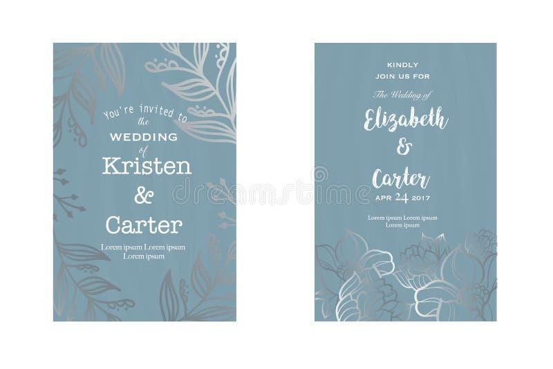 Mooie groetkaart Uitstekend huwelijksontwerp met zilveren bloemenelementen stock illustratie