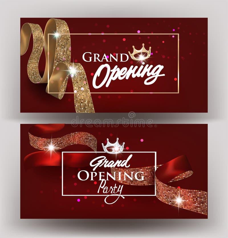 Mooie grote het openen uitnodigingsbanners met zijdelinten met patroon en kaders Vector illustratie royalty-vrije illustratie