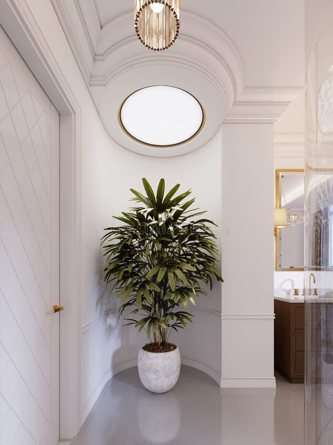 Mooie grote pot in een marmeren pot binnen livin stock illustratie
