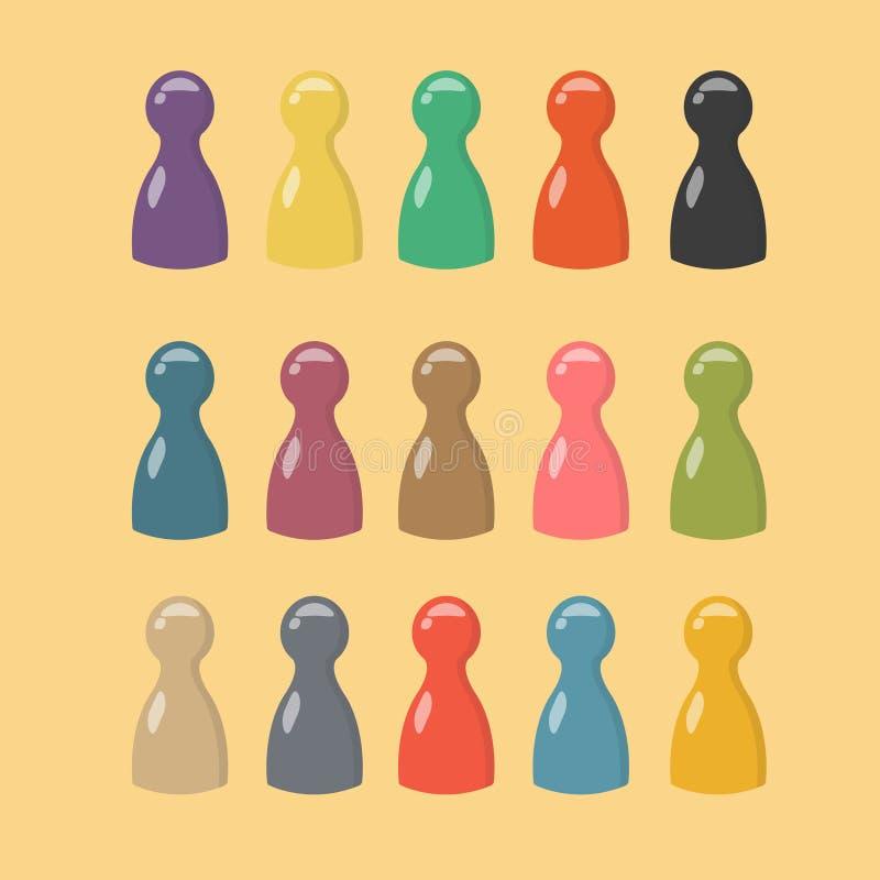 Mooie grote reeks kleurrijke spelstukken Gokkenspaanders voor lijstspelen stock illustratie