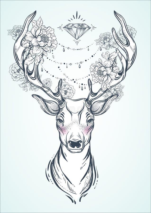 Mooie hand-drawn stammenstijlherten Vectordiehertenhoofd met pioenbloemen en diamantparels wordt verfraaid Geestelijke kunst, yog vector illustratie