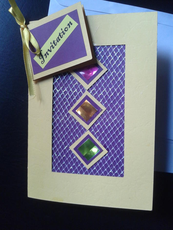Mooie hand - gemaakte uitnodigingskaart stock afbeeldingen