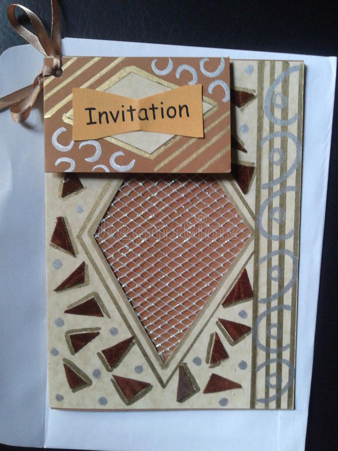 Mooie hand - gemaakte uitnodigingskaart stock fotografie