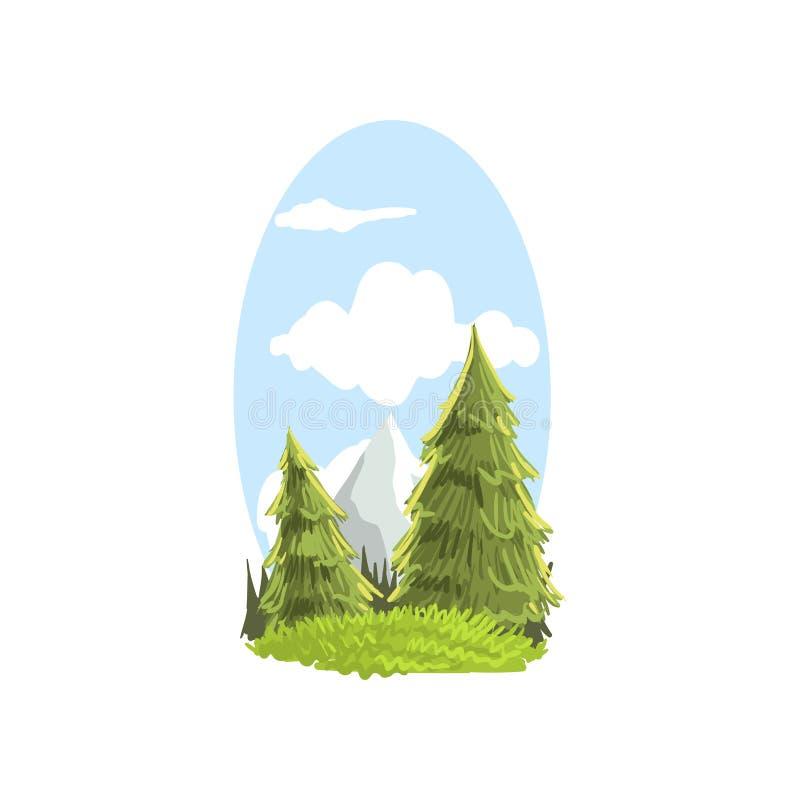 Mooie hand getrokken landschapsscène met sparren en bergpiek Naald altijdgroene boom Kleurrijke bosaard royalty-vrije illustratie