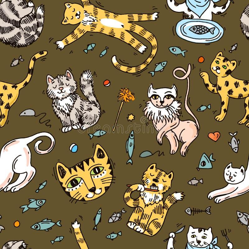 Mooie hand getrokken vectorillustratie leuke katten stock illustratie