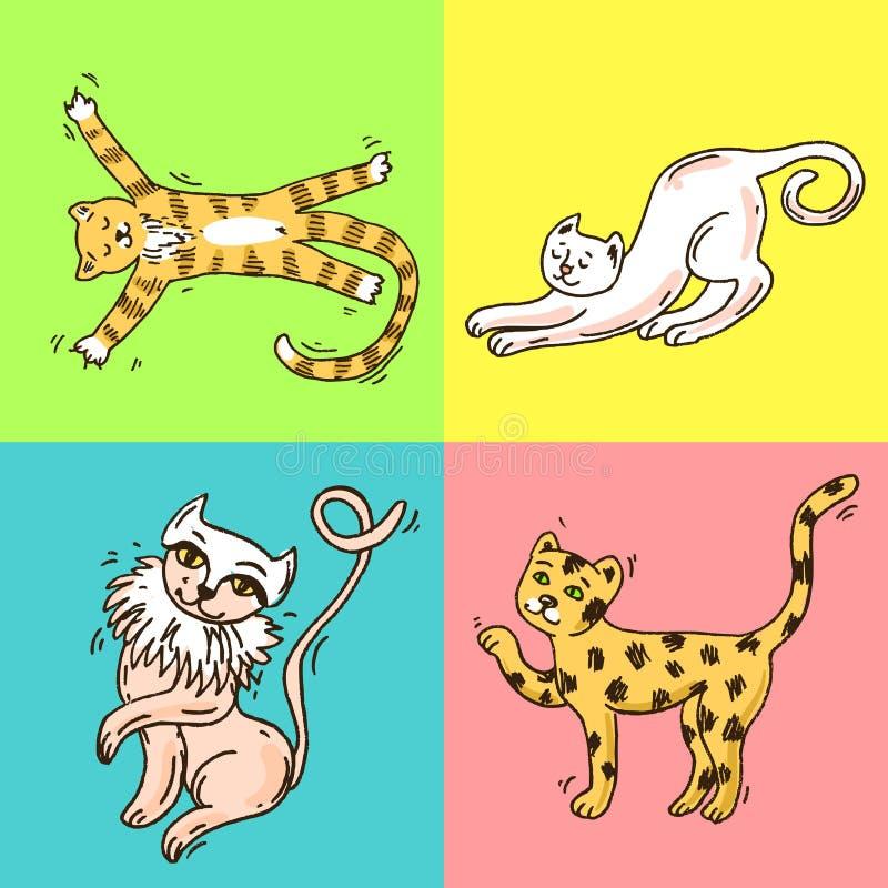 Mooie hand getrokken vectorillustratie leuke katten vector illustratie