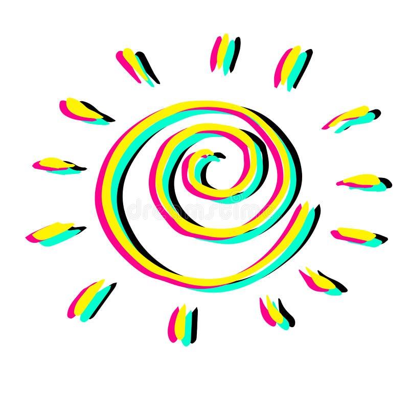 Mooie hand getrokken zonnige vector coloful illustratie royalty-vrije stock afbeelding