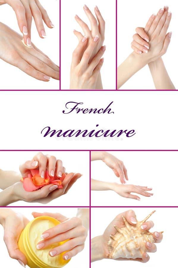 Mooie hand met perfecte Franse manicure royalty-vrije stock afbeelding