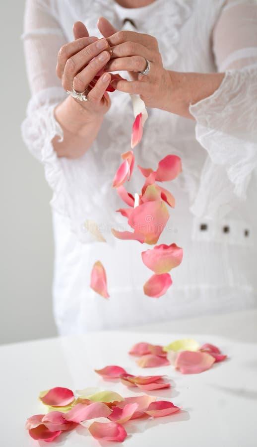 Mooie hand met perfecte Franse manicure op behandeld spijkershol stock afbeelding