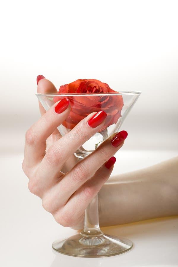 Mooie hand met perfecte rode manicure royalty-vrije stock afbeeldingen