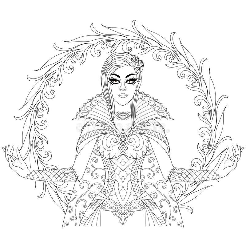 Mooie heks die haar super macht, Halloween-kostuumthema voor ontwerpelement en volwassen kleurende boekpagina tonen Vector illust royalty-vrije illustratie