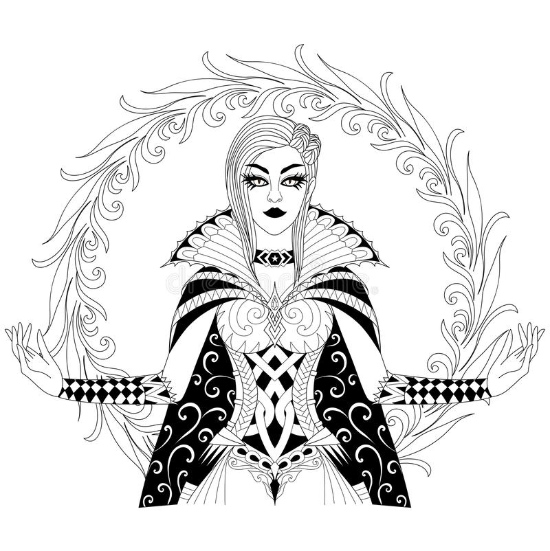 Mooie heks die haar super macht, Halloween-kostuumthema voor ontwerpelement en volwassen kleurende boekpagina tonen Vector illust vector illustratie