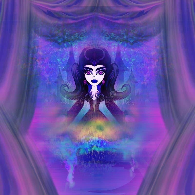 Mooie heksenillustratie stock illustratie
