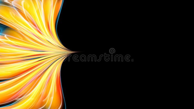 Mooie heldere bont geeloranje abstracte energieke magische kosmische vurige neontextuur van lijnen en strepen, golven, vlammen vector illustratie