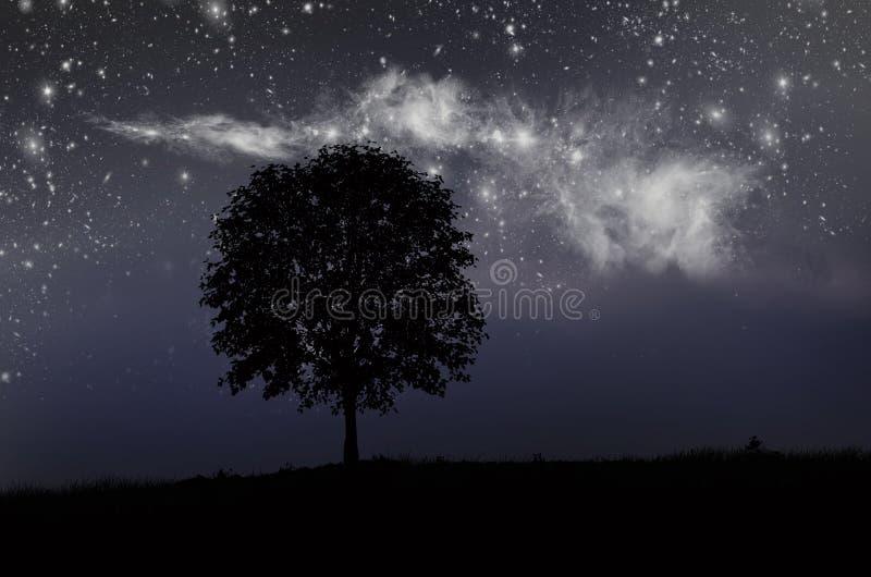 Mooie heldere melkachtige manier in de diepe hemel bij nacht royalty-vrije stock foto's