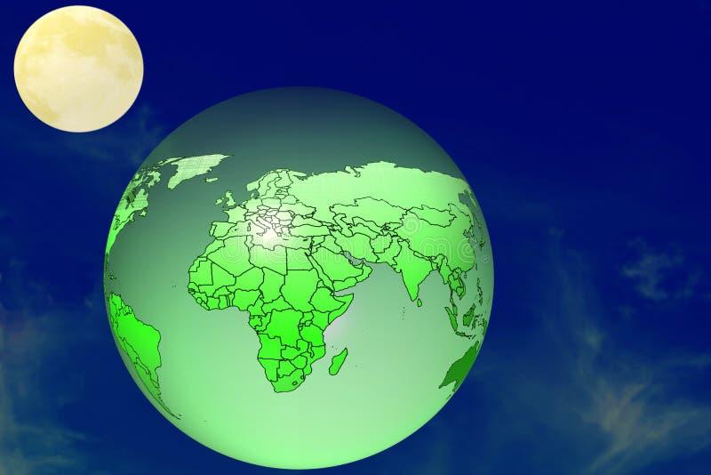 Mooie heldere volle maanstijging achter aardebol stock fotografie