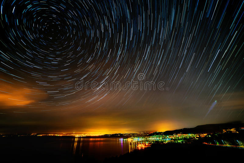 Mooie hemel bij nacht stock fotografie