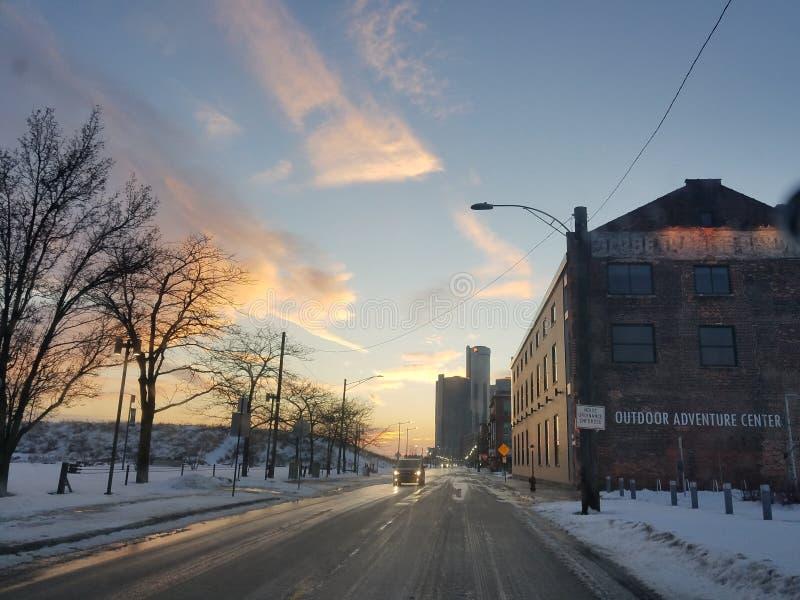 Mooie hemel in Detroit stock foto's