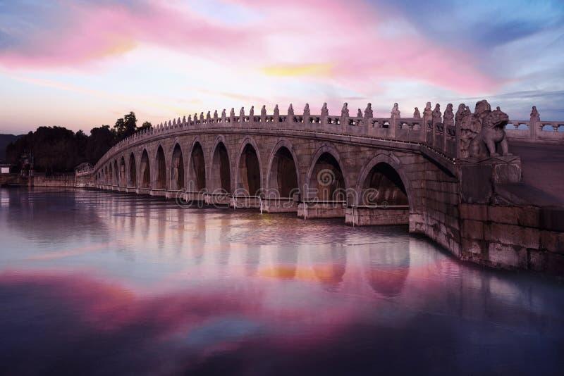 Mooie hemel en brug bij de Zomerpaleis stock afbeelding