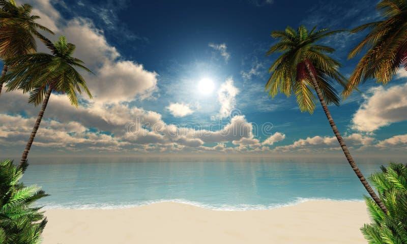 Mooie hemel met wolken en de zon boven het overzees royalty-vrije stock fotografie