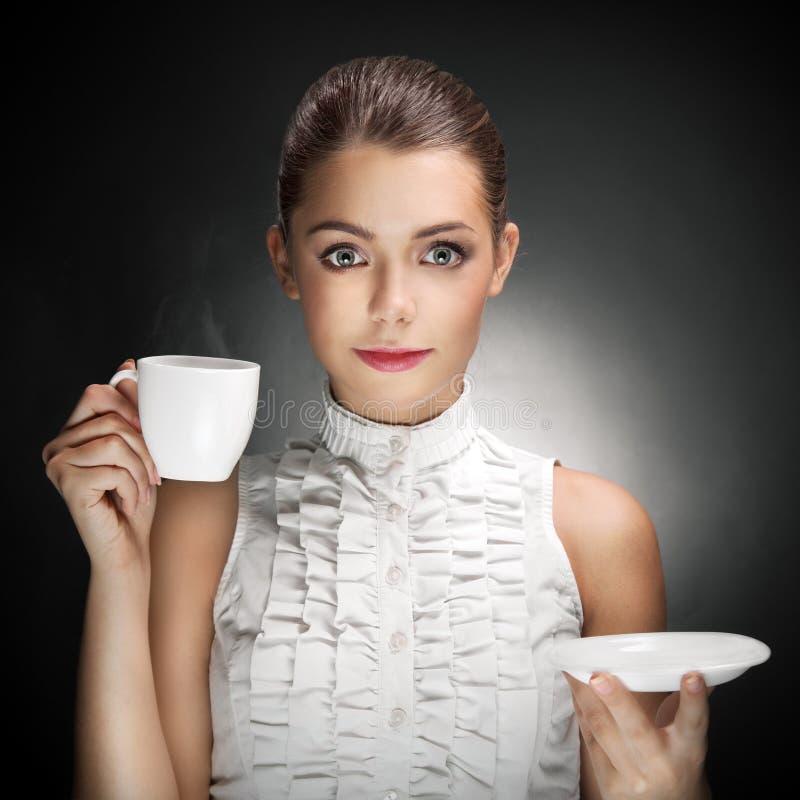 Mooie het Drinken van de Vrouw Koffie. royalty-vrije stock afbeeldingen