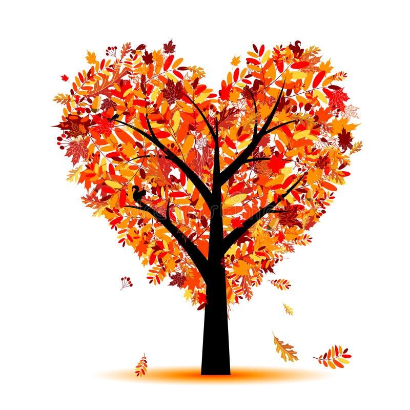 Mooie het hartvorm van de de herfstboom voor uw ontwerp royalty-vrije illustratie