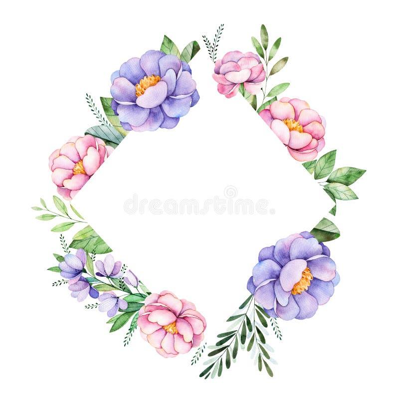 Mooie het kadergrens van de waterverfruit met pioen, bloem, gebladerte, takken en meer stock illustratie