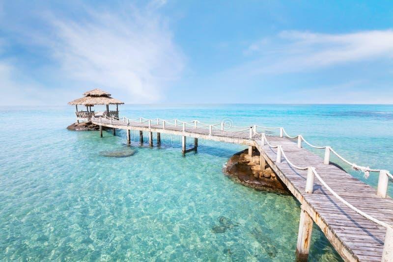 Mooie het landschapsachtergrond van het paradijsstrand, tropisch eiland royalty-vrije stock afbeeldingen