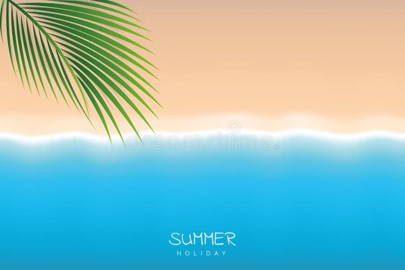 Mooie het strandachtergrond van de de zomervakantie met palmblad en turkoois water stock illustratie