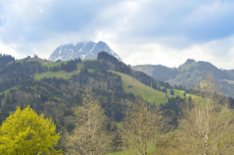Mooie heuvels dichtbij Gruyeres-kasteel, Zwitserland royalty-vrije stock afbeeldingen