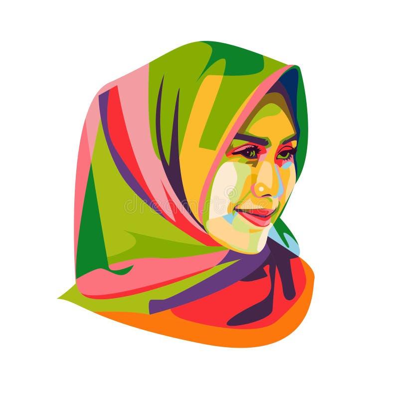 Mooie Hijab-Meisjes Vectorillustratie royalty-vrije illustratie