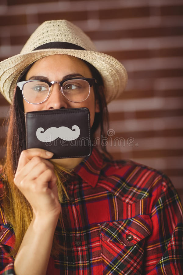 Mooie hipster met snor op portefeuille royalty-vrije stock foto