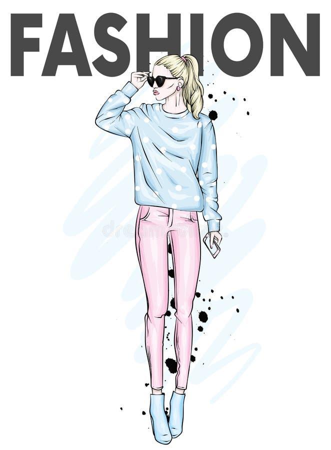 Mooie hoogte in broek, glazen en een sweatshirt Modieuze kleren en toebehoren Modieuze vrouw Vector illustratie vector illustratie