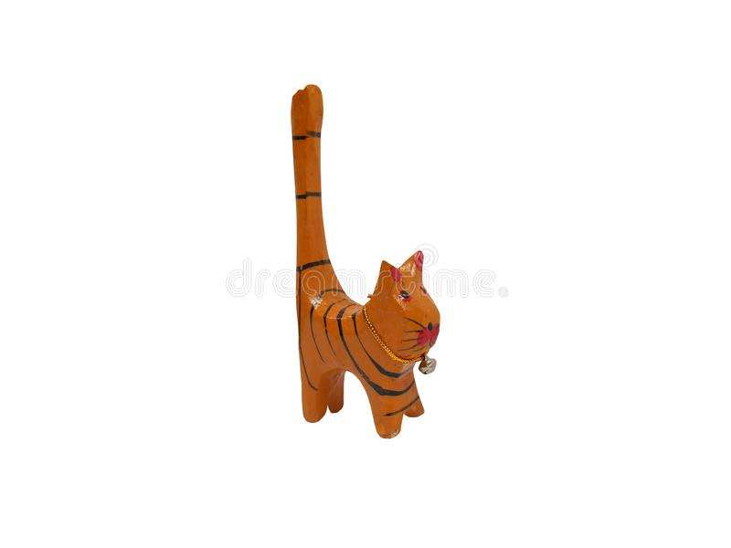 Mooie houten met de hand gesneden kat stock afbeeldingen