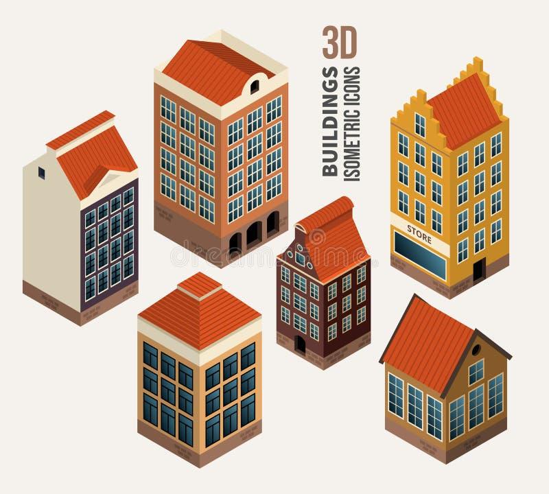 Mooie huizen, architectuur isometrische 3d vector royalty-vrije illustratie