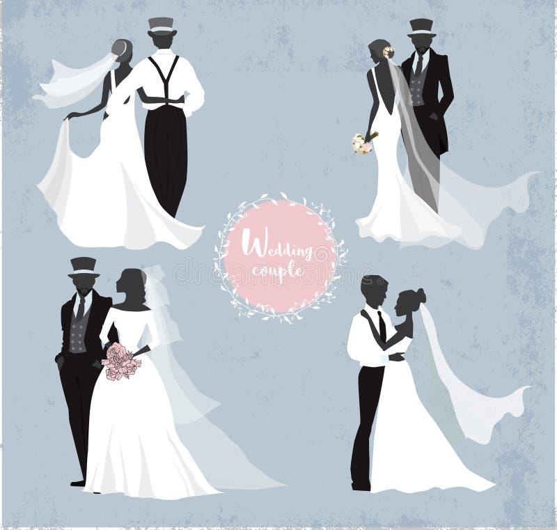 Mooie huwelijksparen in silhouet royalty-vrije illustratie