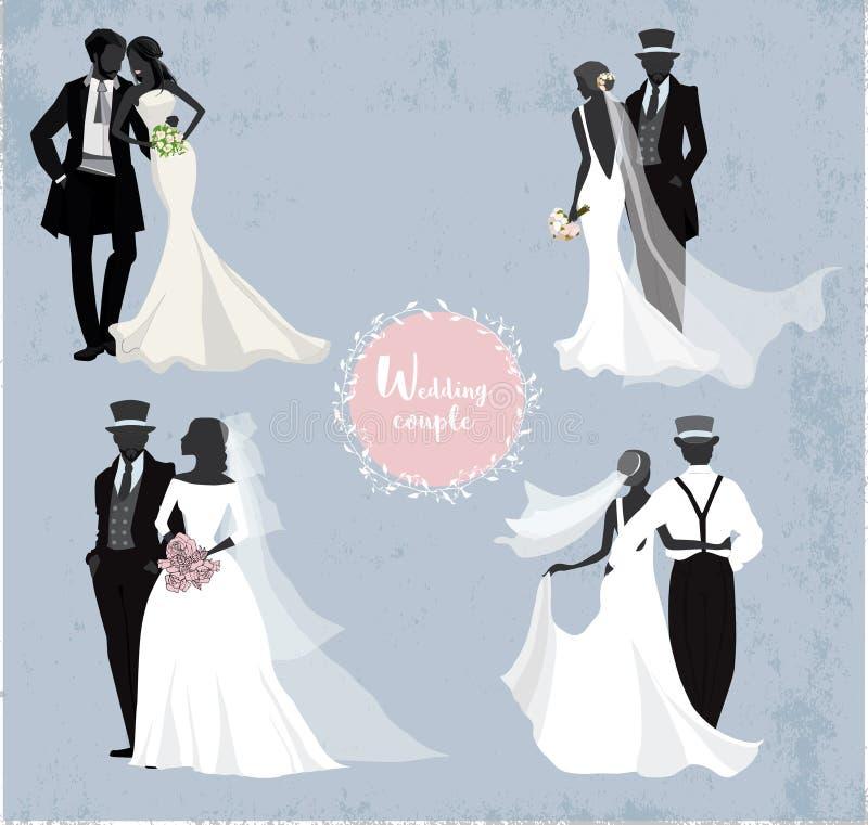 Mooie huwelijksparen in silhouet vector illustratie