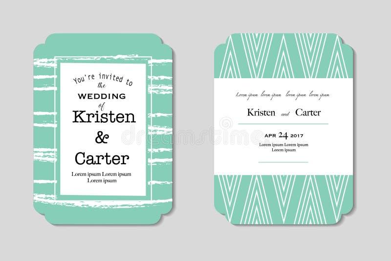 Mooie huwelijksuitnodiging Groene groetkaart met zwarte gedrukte teksten royalty-vrije illustratie