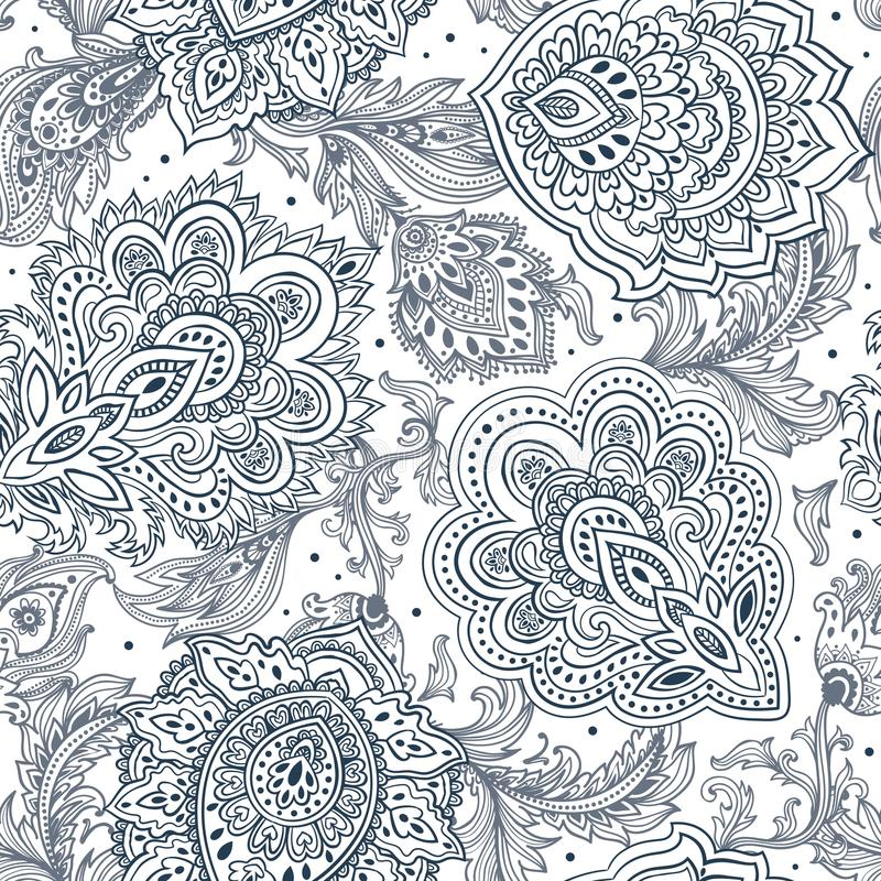 Mooie Indische bloemen naadloze het ornamentdruk van Paisley etnisch vector illustratie