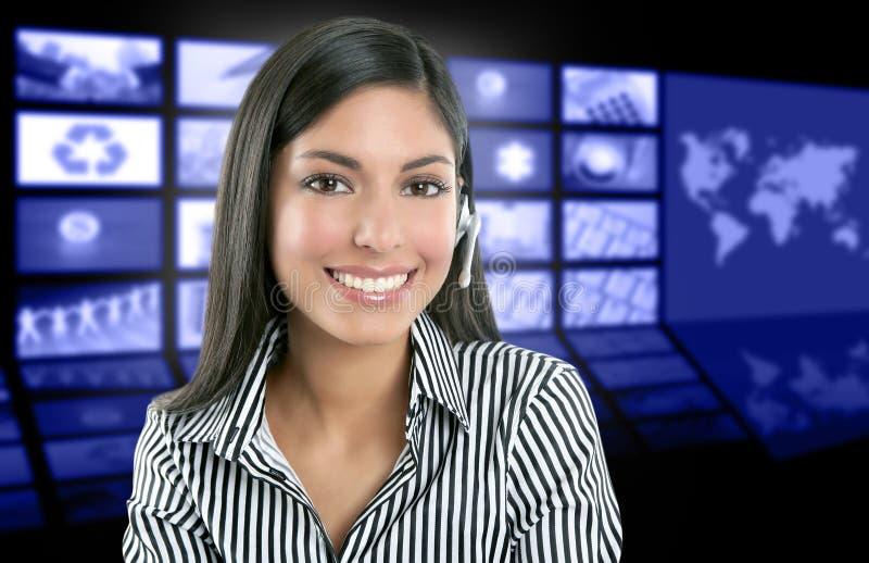 Mooie Indische het nieuwspresentator van de vrouwentelevisie royalty-vrije stock afbeelding
