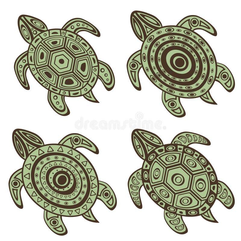 Inzameling van decoratieve schildpadden royalty-vrije illustratie