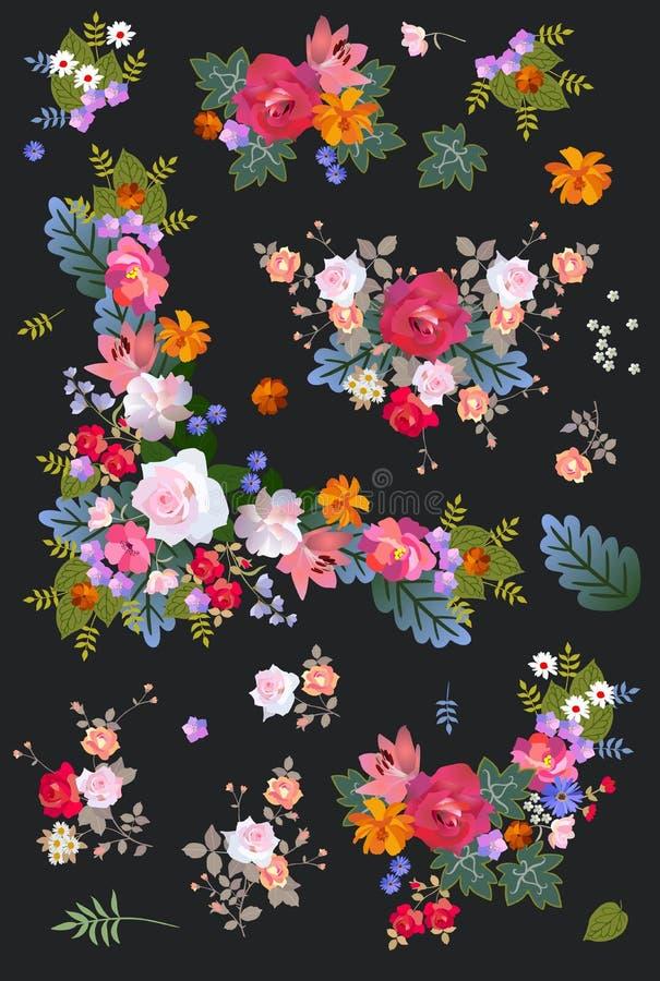 Mooie inzameling van diverse bossen van bloemen en bloemendieslingers op zwarte achtergrond in vector worden geïsoleerd De elemen vector illustratie